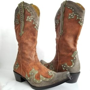 Gianni Bini Ladies Cowboy Boots Studded Leather